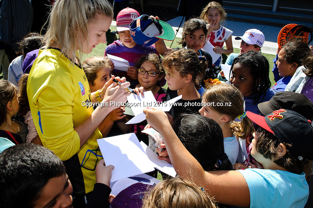 Silver Fern Katrina Grant sings autographs after the Sport NZ Strategy Launch, Lyall Bay School, Wellington, New Zealand. Friday 20 March 2015. Copyright Photo: Mark Tantrum/www.Photosport.co.nz