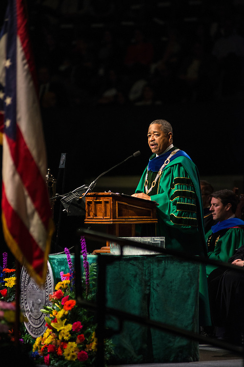 Ohio University President Roderick McDavis addresses students during the Graduate Commencement ceremony on Friday, May 2015.  Photo by Ohio University  /  Rob Hardin