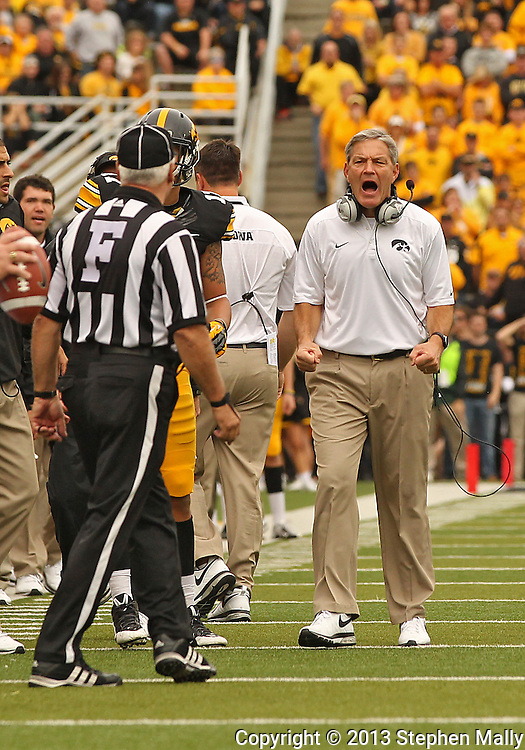 October 6 2013: Iowa Hawkeyes head coach Kirk Ferentz yells at the officials after a play during the second quarter of the NCAA football game between the Michigan State Spartans and the Iowa Hawkeyes at Kinnick Stadium in Iowa City, Iowa on October 6, 2013.