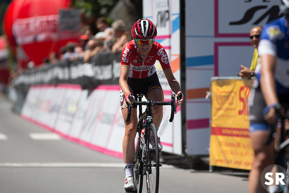 Claudia Lichtenberg (GER) of Lotto Soudal Cycling Team crosses the finish line after the Giro Rosa 2016 - Stage 5. A 77.5 km road race from Grosio to Tirano, Italy on July 6th 2016.