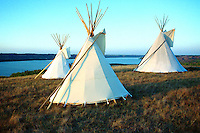 Three Indian tipis sit above the Qu'Appelle Valley, Pasqua First Nation, Saskatchewan