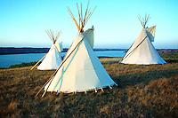 Three Indian tipis sit above the Qu'Appelle Valley, Pasqua First Nation, Saskatchewan