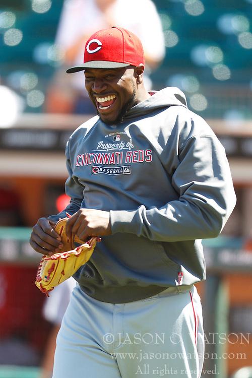 June 12, 2011; San Francisco, CA, USA;  Cincinnati Reds second baseman Brandon Phillips (4) laughs during batting practice before the game against the San Francisco Giants at AT&T Park. San Francisco defeated Cincinnati 4-2.