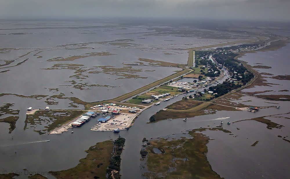 Aerial view of  Pointe-aux-Chenes, in Terrebonne Parish, Louisiana.