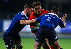 Jack Wallace of Bristol United is tackled by Josh Murphy and Bryan Byrne of Leinster - Mandatory by-line: Ken Sutton/JMP - 15/12/2017 - RUGBY - Donnybrook Stadium - Dublin,  - Leinster 'A' v Bristol United -