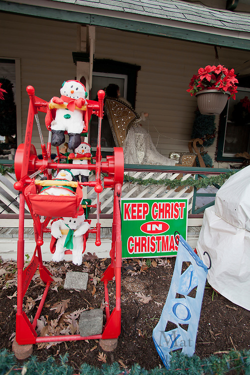 "A ""Keep Christ is Christmas""  sign is displayed in a yard on North ave. in Pitman, NJ on Thursday December 15, 2011. Many ""Keep Christ is Christmas"" signs have been popping up in local yards after the downtown Pitman ""Keep Christ is Christmas"" banner controversy began. (photo / Mat Boyle)"