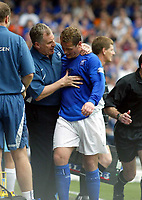 Photo. Chris Ratcliffe, Digitalsport<br /> NORWAY ONLY<br /> <br /> Ipswich Town v West Ham United. Division One Play-off Semi-final. 15/05/2004<br /> Joe Royle thanks his captain Jim Magilton for a job well done