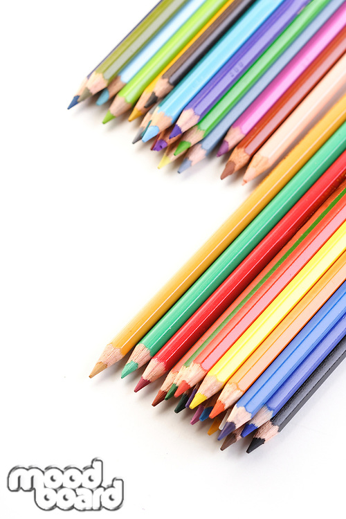 Rainbow colored pencils - close-up
