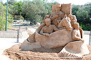 Israel, Tel Aviv, As part of the centennial celebrations, sand sculptures of famous buildings and landmarks were created. Meir Dizengoff on his horse