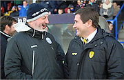 Nigel Clough and Keith Hill  during the Sky Bet League 1 match between Rochdale and Burton Albion at Spotland, Rochdale, England on 30 January 2016. Photo by Daniel Youngs.