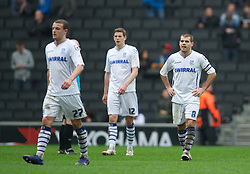 MILTON KEYNES, ENGLAND - Easter Monday, April 9, 2012: Tranmere Rovers' captain John Welsh looks dejected as his side lose 3-0 to Milton Keynes Dons during the Football League One match against Milton Keynes Dons at the Stadium MK. (Pic by David Rawcliffe/Propaganda)