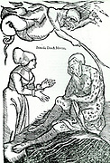 Man visited by the scourge of leprosy.   Disease was often thought to be God's  punishment  for a sinful act or acts.   From Hans van Gersdorff  'Veldt Boeck van den Chirugia Scheel-Hans', Amsterdam, 1593.  Illustrations same as in 1517 Strasbourg edition