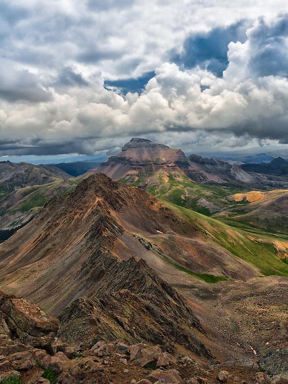 This picture shows Matterhorn Peak (13er) and Uncompahgre Peak (14er) in the Colorado San Juan mountains.<br /> <br /> Camera <br /> NIKON D7100<br /> Lens <br /> 17.0-50.0 mm f/2.8<br /> Focal Length <br /> 17<br /> Shutter Speed <br /> 1/250<br /> Aperture <br /> 10<br /> ISO <br /> 160