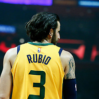 30 November 2017: Utah Jazz guard Ricky Rubio (3) is seen during the Utah Jazz 126-107 victory over the LA Clippers, at the Staples Center, Los Angeles, California, USA.