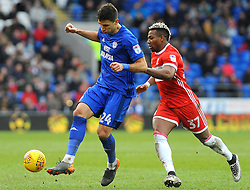 Marko Grujic of Cardiff City holds off Adama Traore of Middlesbrough- Mandatory by-line: Nizaam Jones/JMP - 17/02/2018 -  FOOTBALL - Cardiff City Stadium - Cardiff, Wales -  Cardiff City v Middlesbrough - Sky Bet Championship