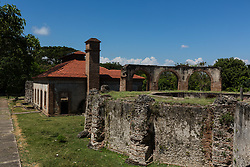 Nigua, Dominican Republic - 4/4/2017 - Ruins of the Nigua Sugar Mill, or Ingenio Boca de Nigua, built in the 1600's in Nigua in the Dominican Republic.  In 1796, it was the site of the first slave rebellion on the island of Hispaniola.  It was partially restored in the 1970's.(Photo by Jon G. Fuller/VWPics) *** Please Use Credit from Credit Field *** *** Please Use Credit from Credit Field ***