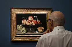 "© Licensed to London News Pictures. 06/07/2015. London, UK.  A visitor looks at Fede Galizia's ""Crystal fruit stand with peaches, quinces amd jasmine flowers"" (est. £1.2m to £1.8m) at the preview of Old Masters, British Paintings and Masterworks from the collection of Castle Howard at Sotheby's ahead of the auction on July 8. Photo credit : Stephen Chung/LNP"