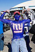 IRVING, TX - JANUARY 13:   Fan of the New York Giants shows off his body paint before a game against the Dallas Cowboys during the NFC Divisional playoff at Texas Stadium on January 13, 2008 in Dallas, Texas.  The Giants defeated the Cowboys 21-17.  (Photo by Wesley Hitt/Getty Images) *** Local Caption ***