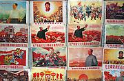 Beijing, China February 13, 2005 - Cultural Revolution-era posters featuring the late Chiarman Mao Zedong are for sale in beijing's Panjiayuan Flea Market. Photo by Natalie Behring