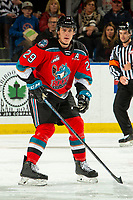 KELOWNA, BC - OCTOBER 12: Nolan Foote #29 of the Kelowna Rockets stands on the ice against the Kamloops Blazers at Prospera Place on October 12, 2019 in Kelowna, Canada. Foote was selected by the Tampa Bay Lightning in the 2019 NHL entry draft. (Photo by Marissa Baecker/Shoot the Breeze)