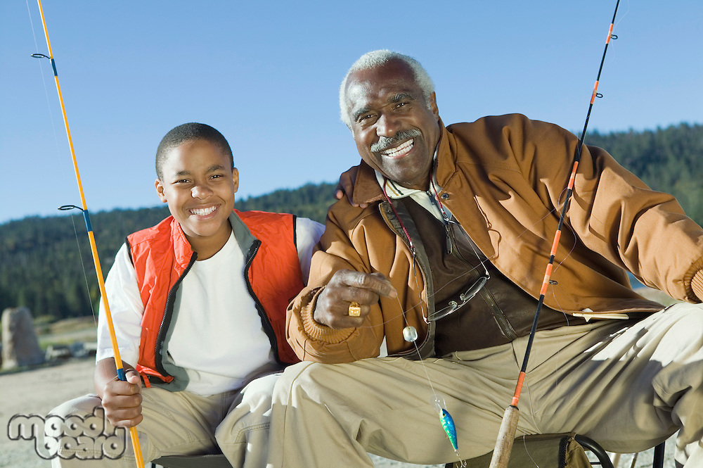 Grandfather and grandson fishing (portrait)
