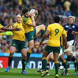 LONDON, ENGLAND - OCTOBER 18: Adam Ashley-Cooper of Australia taking the re start during the Rugby World Cup Quarter Final match between Australia v Scotland at Twickenham Stadium on October 18, 2015 in London, England. (Photo by Steve Haag)