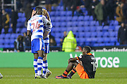 Reading FC defender (24) Tyler Blackett and Reading FC defender (5) Paul McShane celebrate in front of Sheffield Wednesday forward Lucas Joao (19)  during the EFL Sky Bet Championship match between Reading and Sheffield Wednesday at the Madejski Stadium, Reading, England on 10 December 2016. Photo by Mark Davies.