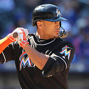 NEW YORK, NEW YORK - APRIL 13: The white's of his eye's peer out from under the helmet of batter Giancarlo Stanton, Miami Marlins, during the Miami Marlins Vs New York Mets MLB regular season ball game at Citi Field on April 13, 2016 in New York City. (Photo by Tim Clayton/Corbis via Getty Images)