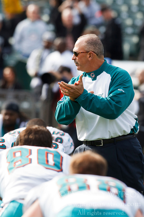 November 28, 2010; Oakland, CA, USA;  Miami Dolphins head coach Tony Sparano watches his team warm up before the game against the Oakland Raiders at Oakland-Alameda County Coliseum. Miami defeated Oakland 33-17.