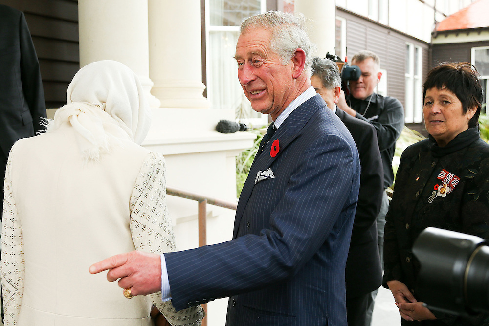 Prince Charles, Prince of Wales, enjoys a laugh during a welcome ceremony at Government House, New Zealand, Wednesday, November 04, 2015. Credit:SNPA / Getty, Hagen Hopkins **POOL**