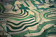 PA landscapes, Aerial of Farmlands, Contour Farming, Lehigh Co., Pennsylvania Aerial Photograph Pennsylvania