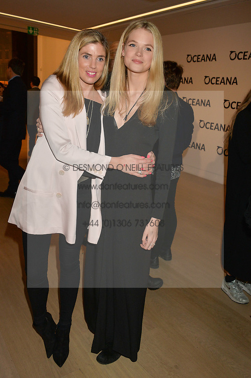 Left to right, GEORGIANA ANSTRUTHER-GOUGH-CALTHORPE and GABRIELLA WILDE at Fashions for The Future presented by Oceana's Junior Council held at Phillips Auction House, 30 Berkeley Square, London on 19th March 2015.