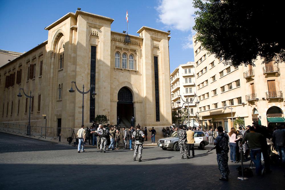 Outside the Lebanese Parliament as legislators decide to postpone the presidential elections until November 30.