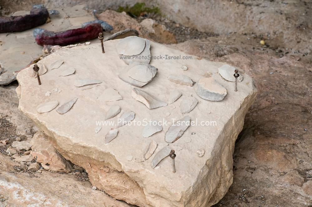 Israel, Carmel Mountain, Nahal Mearot (Cave River) nature reserve containing caves used by prehistoric men for 150 thousand years in three distinct cultures Acheulian culture, Muarian culture and mousterian culture. starting with Homo erectus and ending with Neanderthal. Tools found in he caves on display.