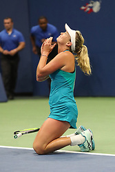 September 6, 2017 - New York City, New York, United States - CoCo Vandeweghe of the United States reacts after defeating Karolina Pliskova of Czech Republic (not seen) during Women's Singles Quarter Finals tennis match within the 2017 US Open Tennis Championships at Arthur Ashe Stadium in New York, United States on September 6, 2017. (Credit Image: © Foto Olimpik/NurPhoto via ZUMA Press)