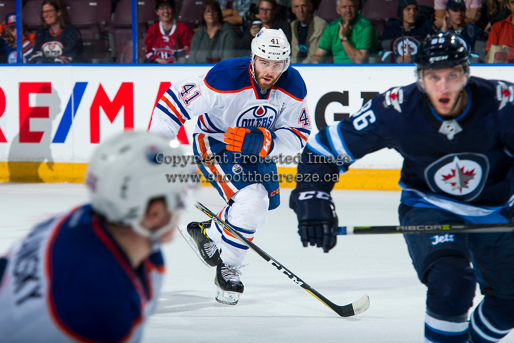 PENTICTON, CANADA - SEPTEMBER 9: Evan Polei #41 of Edmonton Oilers skates against the Winnipeg Jets on September 9, 2017 at the South Okanagan Event Centre in Penticton, British Columbia, Canada.  (Photo by Marissa Baecker/Shoot the Breeze)  *** Local Caption ***