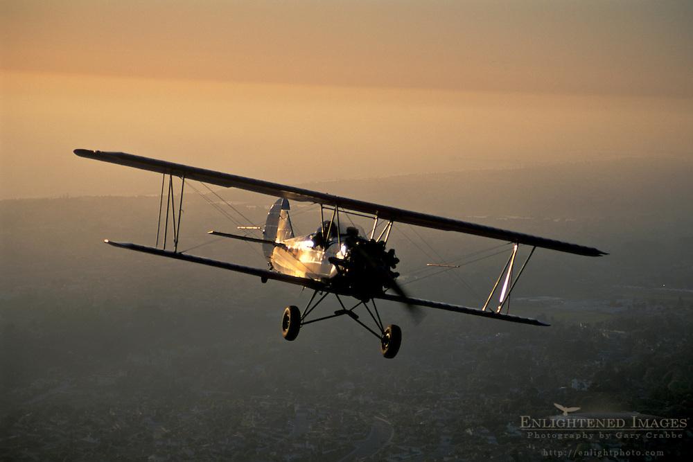 Sunset BiPlane tour, near Carlsbad,+Northern San Diego Coastline San Diego County, CALIFORNIA