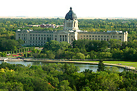 Aerial view of Saskatchewan Legislature, Regina, with Wascana lake in foreground