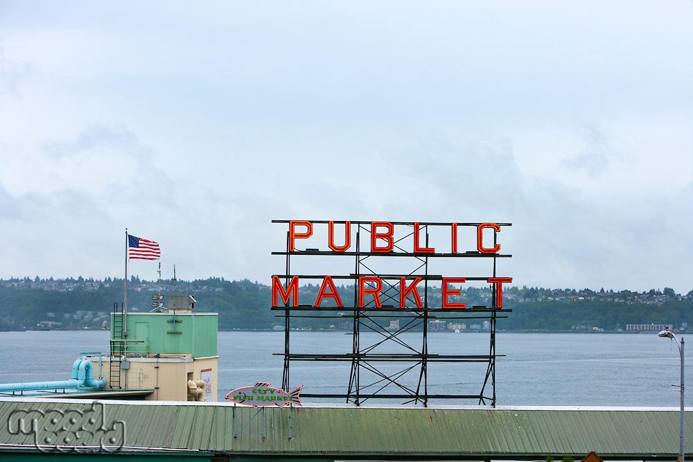 Public Market sign at Seattle fish markets
