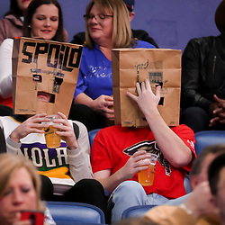 Feb 14, 2019; New Orleans, LA, USA; New Orleans Pelicans fans are seen with bags on their heads during the first quarter against the Oklahoma City Thunder at the Smoothie King Center. Mandatory Credit: Derick E. Hingle-USA TODAY Sports