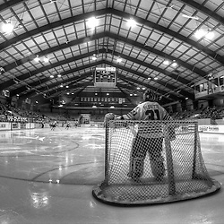 NEWMARKET, ON - Feb 13 : Ontario Junior Hockey League Game Action between the Burlington Cougars and the Newmarket Hurricanes, a monochromatic HDR image of Bo Bessette #31 of the Newmarket Hurricanes Hockey Club during second period game action.<br /> (Photo by Brian Watts / OJHL Images)
