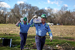 24 February 2016. Schexnaydre St, Convent, Louisiana.<br /> Scenes of devastation following a deadly EF2 tornado touchdown. 2 confirmed dead. <br /> Lester Hart of steel giant NUCOR Corporation delivers vital supplies donated to neighborhoods hardest hit by the storm.<br /> Photo©; Charlie Varley/varleypix.com