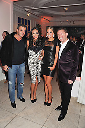 Left to right, OMAR KHYAMI, TAMARA ECCLESTONE, HOLLY VALANCE and NICK CANDY at a reception to celebrate the publication of Candy and Candy: The Art of Design held at the Halcyon Gallery, 24 Bruton Street, London W1 on 26th October 2011.
