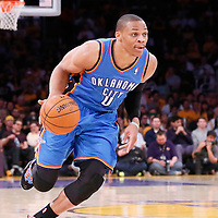 09 March 2014: Oklahoma City Thunder point guard Russell Westbrook (0) dribbles during the Los Angeles Lakers 114-110 victory over the Oklahoma City Thunder at the Staples Center, Los Angeles, California, USA.