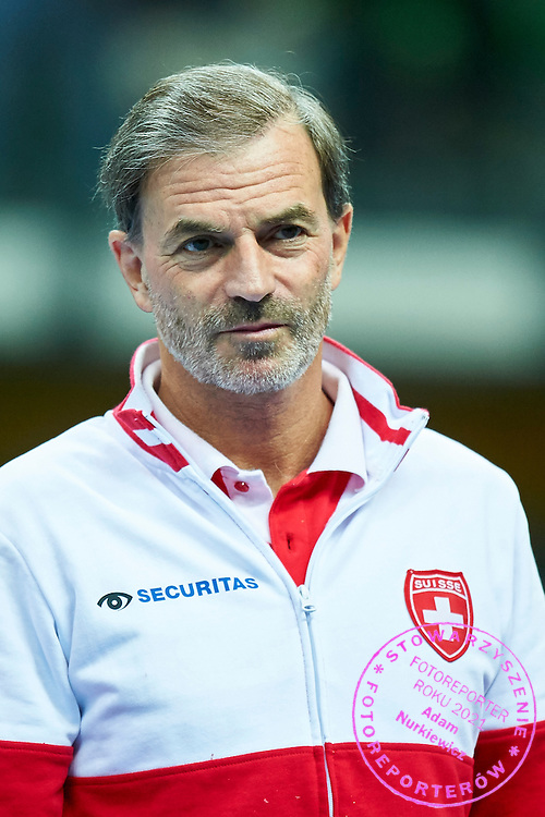 Heinz Guenthardt - captain national team from Switzerland while opening ceremony during the Fed Cup / World Group Play Off tennis match between Poland and Switzerland on April 18, 2015 in Zielona Gora, Poland<br /> Poland, Zielona Gora, April 18, 2015<br /> <br /> Picture also available in RAW (NEF) or TIFF format on special request.<br /> <br /> For editorial use only. Any commercial or promotional use requires permission.<br /> <br /> Adam Nurkiewicz declares that he has no rights to the image of people at the photographs of his authorship.<br /> <br /> Mandatory credit:<br /> Photo by &copy; Adam Nurkiewicz / Mediasport