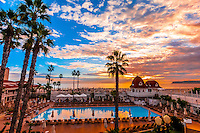 Swimming pool, Hotel del Coronado (a beachfront luxury hotel), Coronado Island (San Diego), California USA.