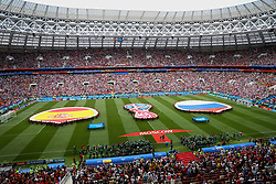 MOSCOW, RUSSIA - Sunday, July 1, 2018: Volunteers unveil huge Spain and Russia flags and a World Cup logo on the pitch before the FIFA World Cup Russia 2018 Round of 16 match between Spain and Russia at the Luzhniki Stadium. (Pic by David Rawcliffe/Propaganda)