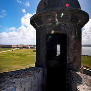 The noon - day caribbean sun beats down on a turret / lookout tower at La Fortaleza in Old San Juan, Puerto Rico.  A U.S. World Heritage Site and National Historic Site, La Fortaleza is maintained and operated by the United States Park Service.