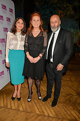 Left to right, SUSAN YOUNG, SARAH, DUCHESS OF YORK and RICHARD YOUNG at an Evening of Riviera Inspired Glamour in aid of CLIC Sargentheld at Sketch, 9 Conduit Street, London on 25th January 2016.