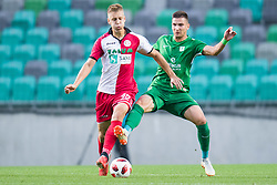Rok Kidric, Vitalijs Maksimenko during football match between NK Olimpija Ljubljana and Aluminij in Round #9 of Prva liga Telekom Slovenije 2018/19, on September 23, 2018 in Stozice Stadium, Ljubljana, Slovenia. Photo by Morgan Kristan